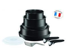 Tefal L6549702 Set de sartenes 22 y 26 cm + cazos de 18 y 20 cm+ guisera de 24 cm + 2 Tapas + espátula + 2 MangosIntercambiables, Aluminio, Negro