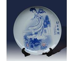 YYHSND Hermoso Plato de Porcelana Azul y Blanco para Damas Decorado con Platos de Porcelana. Joyería Artesanal