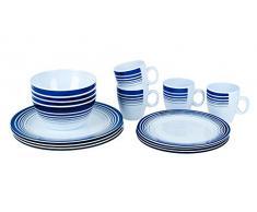 Bo Camp - Vajilla de mesa de 16 piezas de melamina, azul oscuro