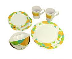 10T Arvon Dinnerware - vajillas de melamina, 8 piezas, 2 tazas, 4 placas en 2 tamaños, 2 cuencos