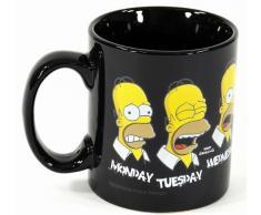 United Labels 0199459 - Taza para el desayuno con diseño de Homer y los días de la semana en inglés, color negro