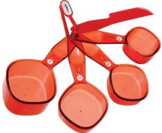 DKB Household Zyliss - Tazas medidoras, 4 unidades, color rojo translúcido