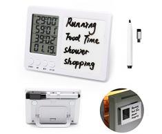 Temporizador cocina, WER contador de tiempo digital, temporizador de cocina de 4 canales, Pantalla LCD grande, fuerte alarma, respaldo magnético, stand, pizarra / pluma de borrado en seco(2 pcs)