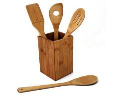 Juego de utensilios de cocina de bambú 5-unidades - Cesta de cubiertos - cuchara de cocina - espátula perforada - Agujero cucharón - espátula