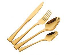 Cubertería Juego de cubiertos Acero inoxidable Buyer Star 4 piezas Inox Vajilla de lujo dorada Cuchillo y tenedor Crockery