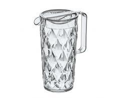 Koziol CRYSTAL - Jarra de plástico con tapa, 1,6 l, efecto cristal, color transparente