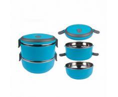 Dos capas de acero inoxidable acero escuela almuerzo Bento caja lonchera alimentos almacenamiento contenedor azul