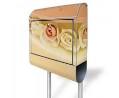 banjado - buzón de acero 38,5 x 158,5 x 12 cm buzón Burg Wächter plateadas con soporte y diseño de pastel de boda