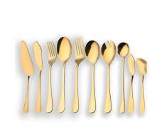 Berglander Juego de cubiertos de servir de acero inoxidable dorado, Juego de cubiertos de servir dorado, Servidor de pastel, Cuchillo de pescado, Tenedor para pescado, Cuchara para servir, Tenedor para servir, Cuchara de ensalada,
