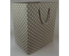 Grande tamaño 50cm. Bolso plegable de almacenamiento para lavandería, juguetes o bolsa de lavado. Totalmente forrado bolsa de alta calidad. Beige con el patrón irregular blanco