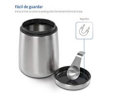 Xavax Bote para café molido o en granos, recipiente hermético para conservar el aroma, bote de almacenamiento de acero inoxidable plateado y cuchara medidora, 1,8 L