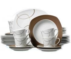 Ritzenhoff & Breker 593808 - Vajilla (30 piezas), color blanco y marrón