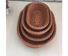 Canasta de pan, Canasta hecha a mano de ratán oval de ratán marrón, Canasta de pan de frutas exquisita y hábil para el hogar (blanco, 25 * 25 * 6 cm) ( Color : Brown , Size : 30*20*6cm )