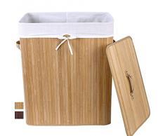 Songmics - Cesto para la colada (100 L, bambú, plegable, con 3 asas)