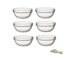 Viva-Haushaltswaren - Cuencos de cristal para aperitivos (6 unidades, 9 cm de diámetro, incluye pala de madera de 7,5 cm)