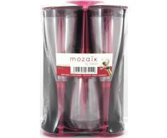 MOZAIK 6 copas de champán de plástico en color frambuesa (100ml)