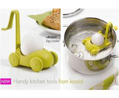 Koziol de plástico con Forma de Carrito de COCEDOR de Huevos para microondas, Juego de 2, Blanco