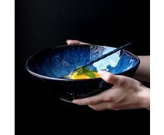 Gweat Estilo Japonés Azul Retro Vajilla De Cerámica Creativo Ramen Tazón Grande Sopa Cuenco De Ensalada De Fruta (Tamaño : Metro)