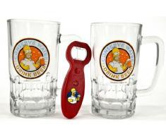 United Labels 117605 - Juego de jarras de cerveza con abrebotellas (2 piezas, 540 ml), diseño de Los Simpsons - Set 2 Jarras Simpsosn + Abrebotellas con sonido