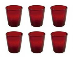 VILLA DESTE Juego de 6 Vasos de Agua Cancún, en Rojo