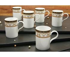 Creatable 15087 Serie Villa Table Majestosa Juego de vasos, Café, 6 piezas, porcelana, multicolor, 24 x 29 x 14 cm