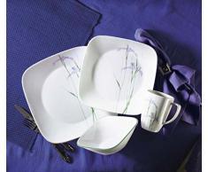 Corelle - Juego de vajilla de 16 piezas, de vidrio Vitrelle resistente a las roturas y las desportilladuras, modelo Shadow Iris, servicio para 4 personas, color morado