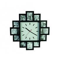 Relaxdays - Reloj de pared con marcos de fotos, color negro