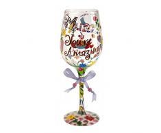 Lolita copa de vino de cristal, vidrio, multicolor, 8.5 x 8.5 x 22.5 cm