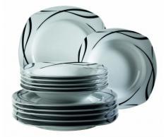 Domestic 920673 Oslo - Vajilla cuadrada de porcelana (6 platos llanos y 6 platos hondos), color blanco y negro