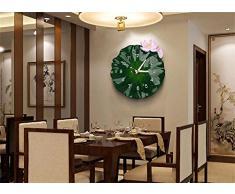Creative Light- 14 pulgadas de resina habitación china de estar de moda el estilo creativo de la personalidad de la moda Relojes de arte pastorales cocina Mute reloj de pared de la hoja de loto