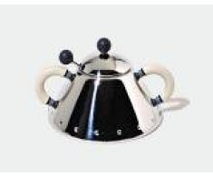 Alessi 9097 WI - Azucarero de acero inoxidable con cucharilla, color plateado y crema