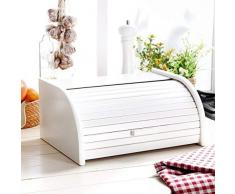 Panera de madera con puerta enrollable para guardar panes, tamaño pequeño, color negro, madera, Blanco, Small