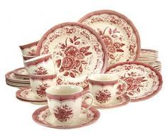 Creatable 19427 Victorian - Vajilla (30 piezas), color rosa