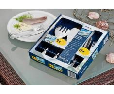 Esmeyer Forelle - Cubertería de pescado en caja de regalo, 14 piezas, color plateado