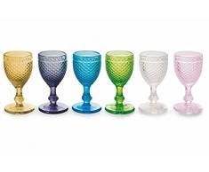 VILLA d'Este juego de 6 copas para vino de copas de licor diamantes de cristal con forma de diamantes de colores