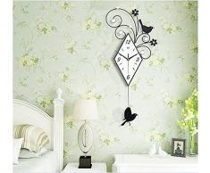 Creative Light- Pastoral moderna europea salón dormitorio reloj de pared de silencio creativo oscilación de la moda