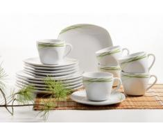 Mäser Domestic Olea - Servicio completo, 30 piezas, incluye 6 tazas de café, 6 platillos de café, 6 platos de postre, 6 platos llanos y 6 platos hondos, color blanco y verde