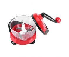 Picador de Alimentos Cortador de Verduras Manual Chopper con Manivela Contenedor Transparente para Cortar Carne Frutas Verduras Nueces Hierbas Cebollas Ajo