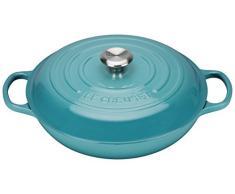 Le Creuset Evolution - Cocotte redonda baja, de hierro colado esmaltado, 30 cm, color azul caribe