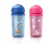 Philips Avent SCF766/00 - Vaso con pajita para niños más mayores 260 ml, activación fácil, con cierre de rosca aptas para lavavajillas, color azul o rosa (surtido, 1 unidad)