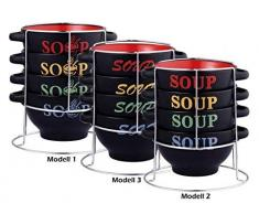 5 tlg. Juego de cuencos de sopa con soporte - Cerámica - 4 bandejas de 700 ml - 3 caballos de los modelos de - cuenco para postre - cuenco sopero - terrina de - sopera de - Juego de taza de sopa - Müslischalen-SET - Juego de