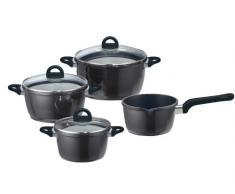 ELO 63403 - Batería de Cocina (4 Piezas, ollas de 26, 20 y 24 cm y cazo de 16 cm), Color Negro