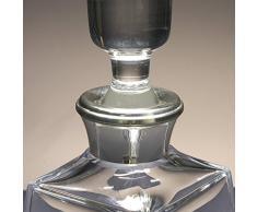 Botella de cristal, decanter, garrafa, para whisky y licor, boquilla en plata de ley 925, 26 cm. de altura.