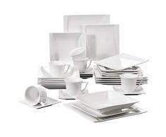 Malacasa, serie Carina,30 piezas vajilla de porcelana vajilla completa con 6 tazas de café , 6 platillos,6 platos de postre,6 platos de sopa y 6 platos planos vajilla para 6 personas