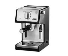 Delonghi - Cafetera de Bomba Tradicional para Espresso y Cappuccino, Admite Café Molido y Monodosis, 2 Tazas Simultáneamente, Depósito de Agua de 1.1 l, 1100 W, ECP 35.31, Negro y Plata
