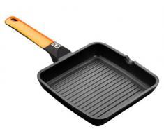 BRA Efficient Orange - Grill asador con rayas, 22 cm, aluminio fundido con antiadherente Teflon Platinum Plus