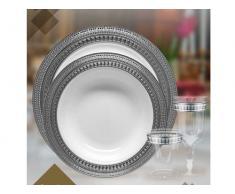 DECORLINE - Transparente con plata de vajillas desechables de plástico resistente elegante (Placa de 23 cm)