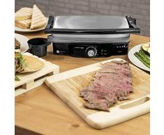Cecotec Parrilla eléctrica, Plancha y Sandwichera Rock'nGrill 1500 Panini Grill, Sandw, Acero/Negro