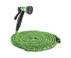 Water Wizard Manguera flexible para jardín 8 funciones 15m verde (sin nudos ni dobleces, pistola 8 modos de riego, conexion rapida compatible Kärcher, Gardena...)