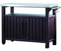 Keter - Mueble Barbacoa grande para jardín, Capacidad 279 litros, Color marrón